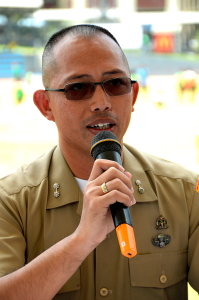 """Lt Col Stephen Cabanlet during the press conference of """"Football for Peace""""  at the University of Makati Stadium."""