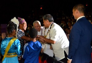 T'boli and Aeta students from South Cotabato and Pampanga, hand their simple gifts -- native garlands -- to MVP, OSR and Bro. Armin Luisto as a gesture of their gratitude.