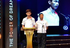 A Meralco employee and his son, among the 2015 winners of the MVP AAA, deliver a message of thanks to MVP and One Meralco Foundation on behalf of all of the winners.