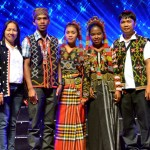 T'boli students from Kibang National High School, a remote school in the mountainous region of Lake Sebu, South Cotabato pose with their teachers on the stage of the Meralco Theater. The school was energized by OMF in 2014.