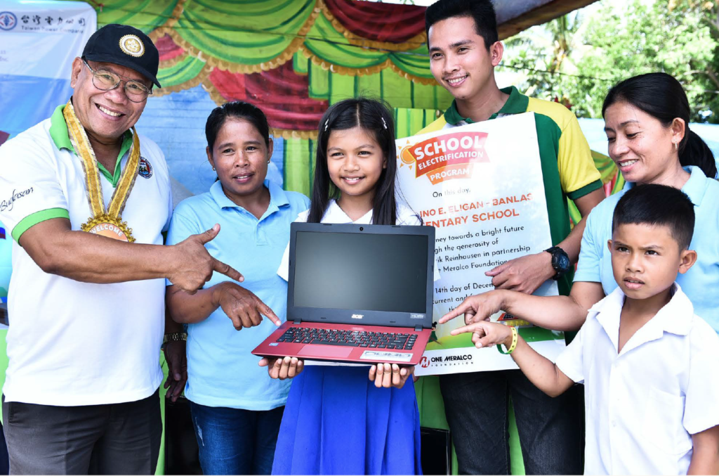 Four (4) off-grid public schools in the mountainous regions of Negros Oriental receive their multimedia equipment during a festive community launch held to celebrate the electrification of the schools through solar PV technology.