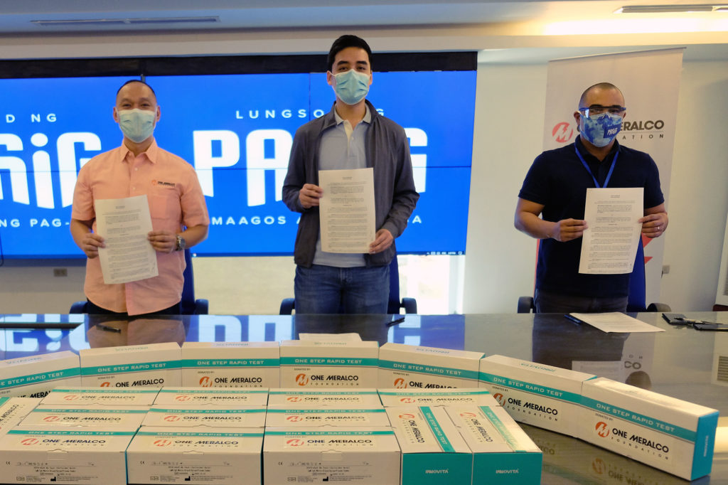 One Meralco Foundation turns over rapid test kits to Pasig City Mayor Vico Sotto
